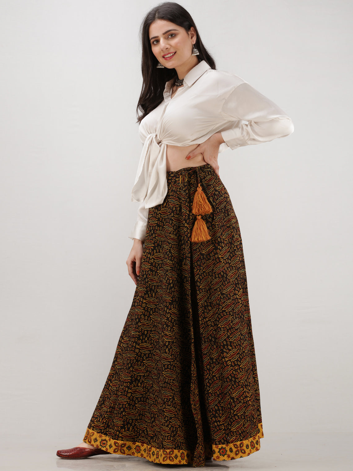 Black Mustard Yellow Ajrakh Hand Block Printed Wrap Around Skirt  - S402BP40