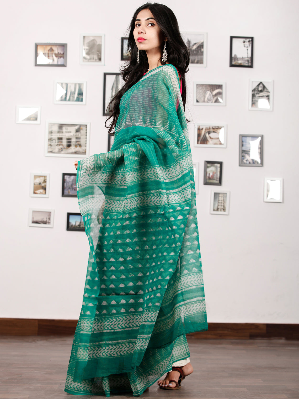 Green Ivory Hand Block Printed Kota Doria Saree in Natural Colors - S031702893