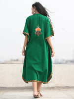 Green MultiColor Aari Embroidered Kashmere Free Size Kaftan in Crushed Cotton - K11K079