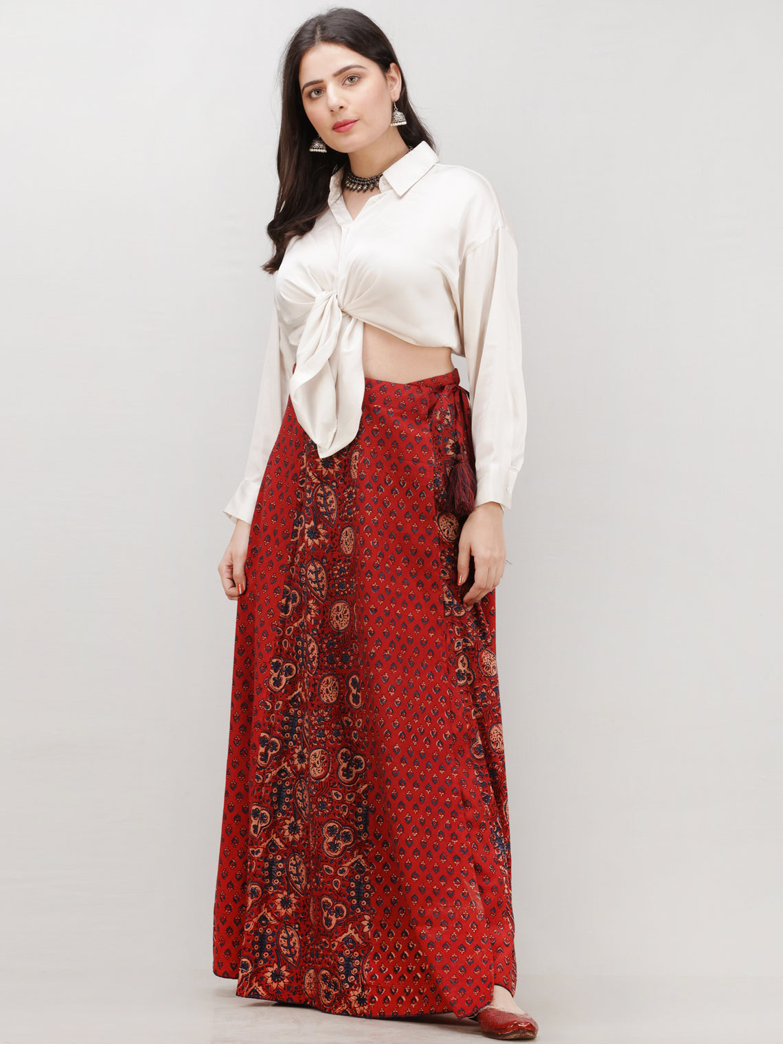 Rustic Red  Indigo Ajrakh Hand Block Printed Wrap Around Skirt  - S402BP97