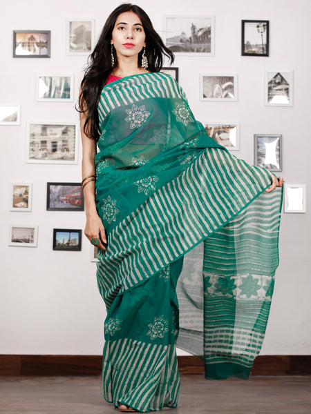 Green Ivory Hand Block Printed Kota Doria Saree in Natural Colors - S031702894