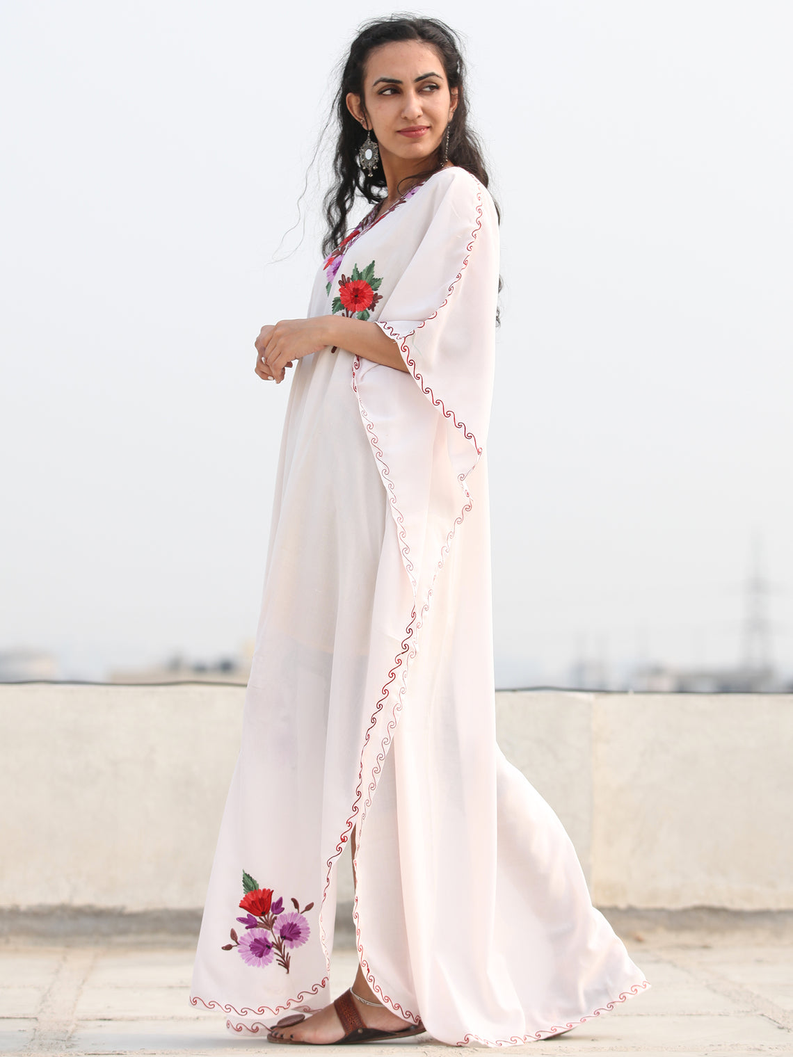 White Multicolor Aari Embroidered Kashmere Free Size Kaftan in Crushed Cotton - K11K080