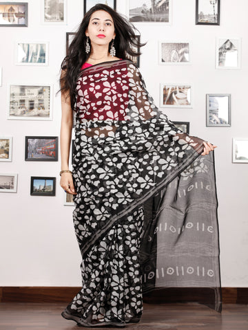 Black White Hand Block Printed Kota Doria Saree in Natural Colors - S031702881