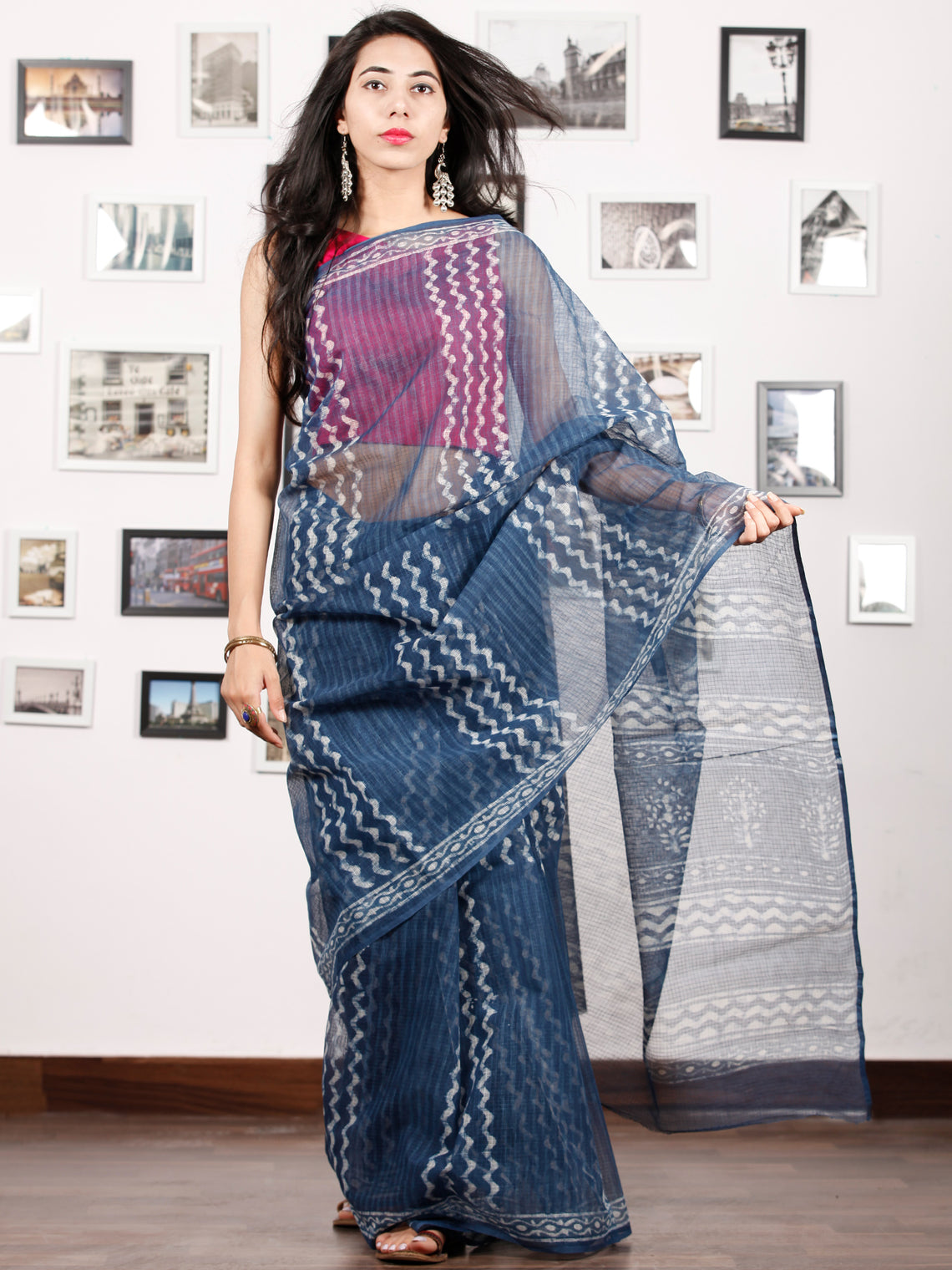 Indigo Ivory Hand Block Printed Kota Doria Saree in Natural Colors - S031702883