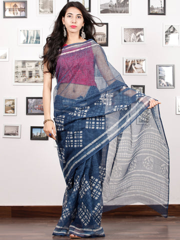 Indigo Ivory Hand Block Printed Kota Doria Saree in Natural Colors - S031702885