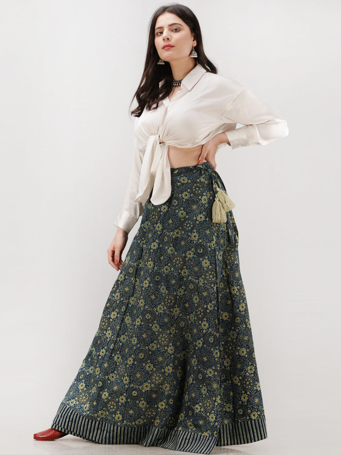 Indigo Olive Green  Ajrakh Hand Block Printed Wrap Around Skirt  - S402F1199