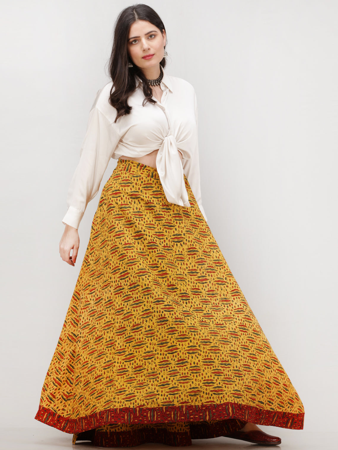 Mustard Red Green  Ajrakh Hand Block Printed Wrap Around Skirt  - S402BP43