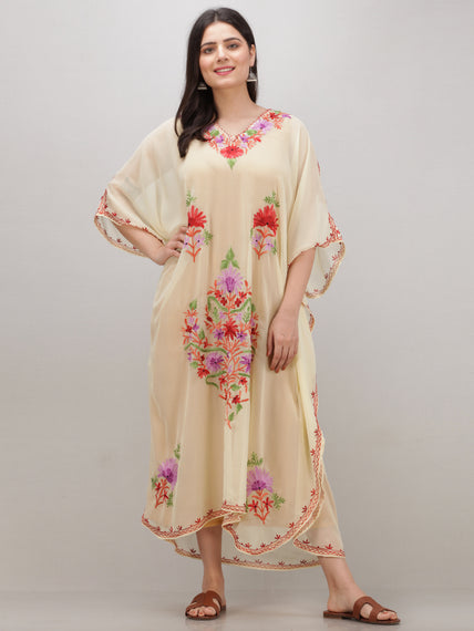 OffWhite Multicolor Aari Embroidered Kashmere Free Size Georgette Kaftan  - K12K001