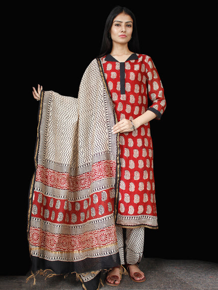 Red Black Beige Chanderi Block Printed Suit Set - Set of 3 - SS01F005