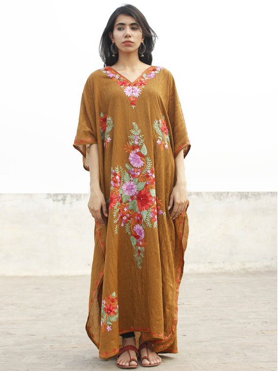 Light Brown with Multi color Aari Embroidered Long Kashmere Free Size Kaftan in Crushed Cotton - K11K005