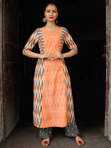 Peach White Grey Hand Woven Ikat Cotton Suit  - Set of 2  - SS01F036