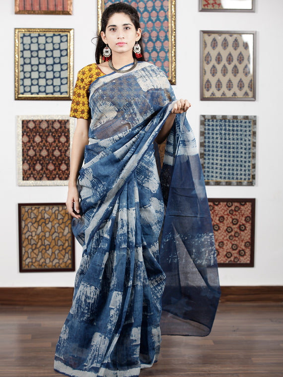 Indigo Ivory Hand Block Painted & Printed Kota Doria Saree in Natural Colors - S031703086