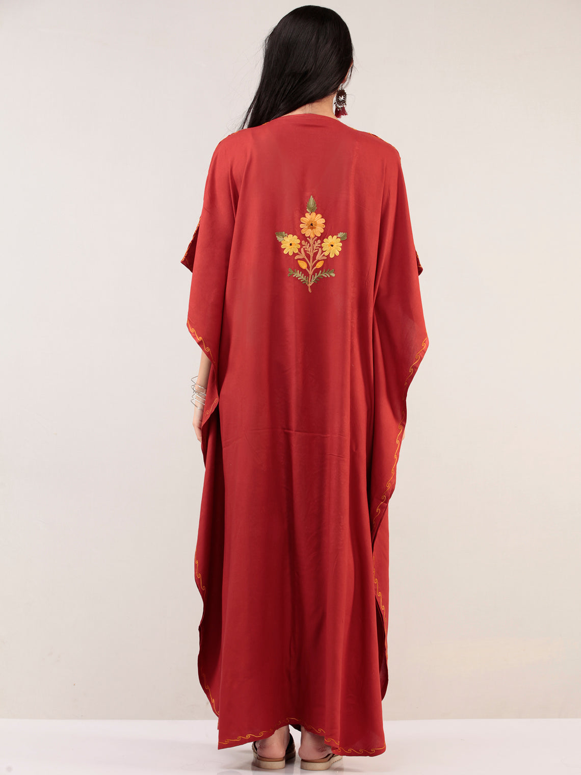Red Yellow Aari Embroidered Kashmere Free Size Kaftan  - K12K024