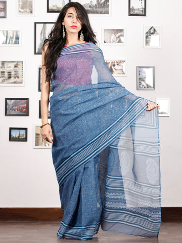 Indigo Ivory Hand Block Printed Kota Doria Saree in Natural Colors - S031702897