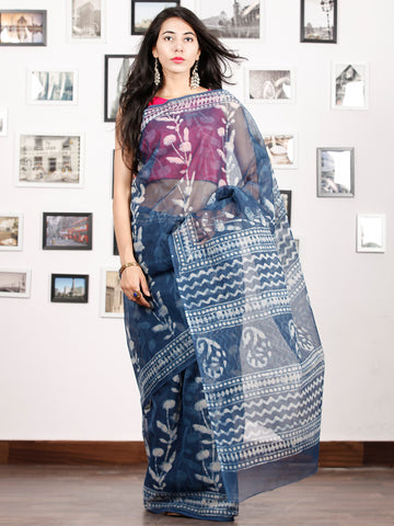 Indigo White Hand Block Printed Kota Doria Saree in Natural Colors - S031702898