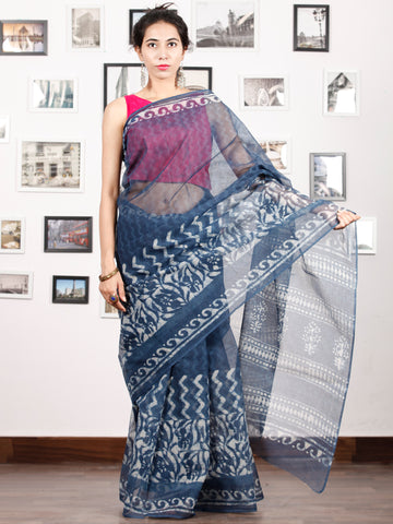 Indigo Ivory Hand Block Printed Kota Doria Saree in Natural Colors - S031702899
