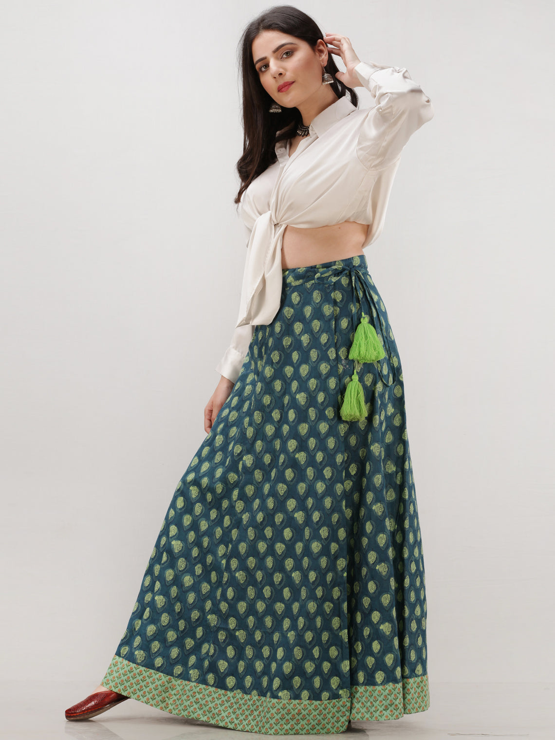 Bottle Green  Hand Block Printed Wrap Around Skirt  - S402F1865