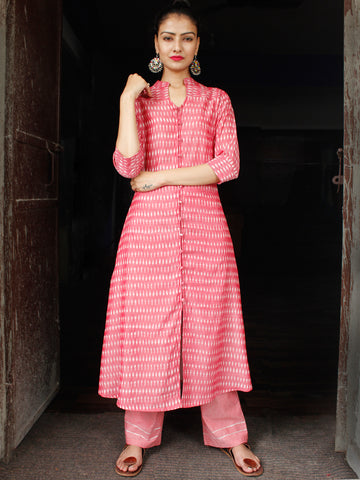 Pink Ivory Pochampally Hand Woven Mercerised Ikat Cotton Suit With Silver Zari Embroidery  - Set of 2  - SS01F037