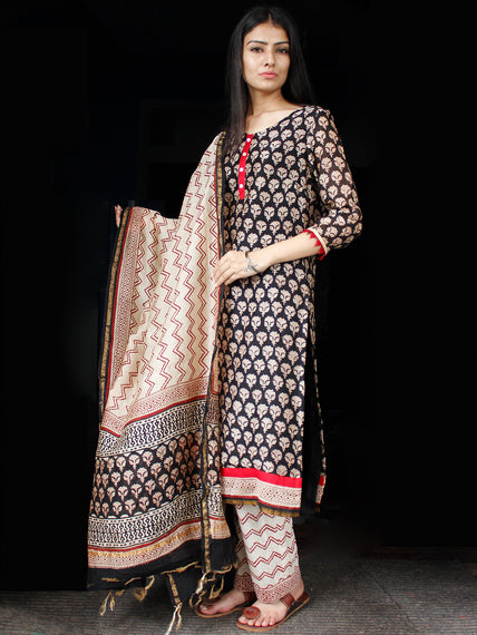 Black Beige Rust Chanderi Block Printed Suit Set - Set of 3 - SS01F006