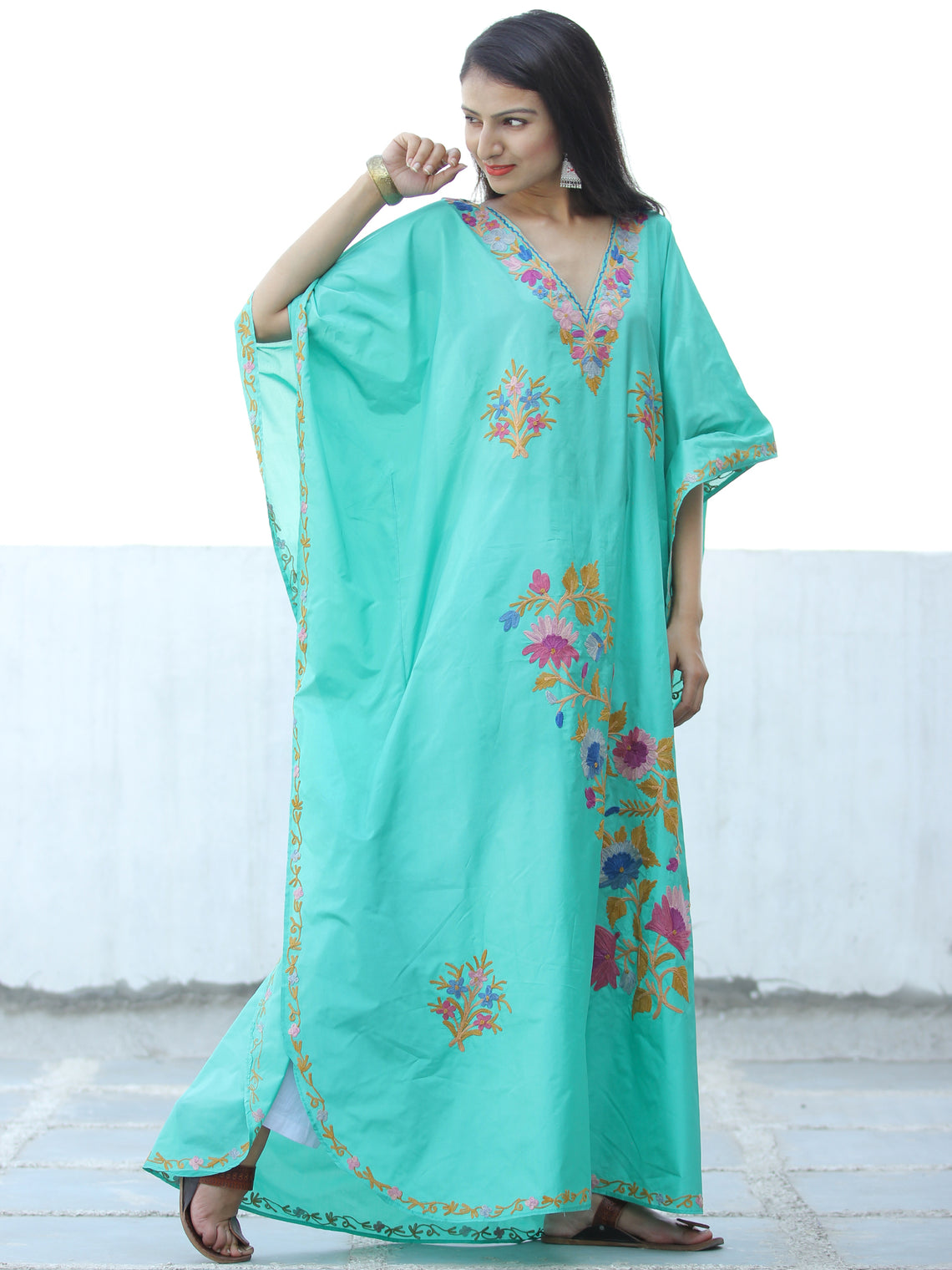 Light Green Purple Aari Embroidered Kashmere Free Size Long Kaftan in Crushed Cotton - K11K056