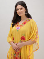 Yellow Multicolor Aari Embroidered Kashmere Free Size Georgette Kaftan  - K12K002