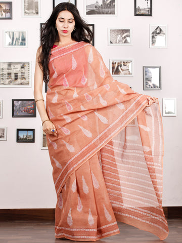 Peach Ivory Hand Block Printed Kota Doria Saree in Natural Colors - S031702905