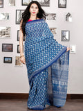 Indigo Ivory Hand Block Printed Cotton Saree In Natural Colors - S031702907