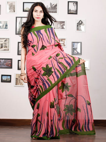 Pink Green Blue Block Printed & Hand Painted Cotton Mul Saree - S031702908