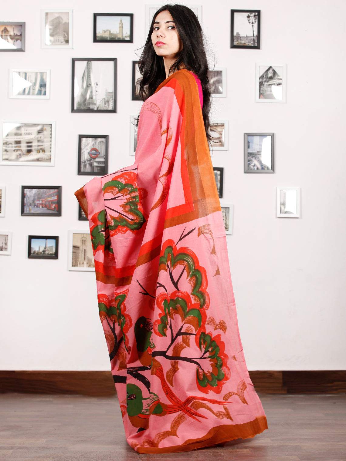 Pink Red Rust Green Block Printed & Hand Painted Cotton Mul Saree - S031702909