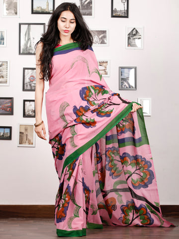 Pink Indigo Green Rust Block Printed & Hand Painted Cotton Mul Saree - S031702910