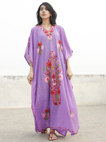 Mauve color Aari Embroidered Long Kashmere Free Size Kaftan in Crushed Cotton - K11K007