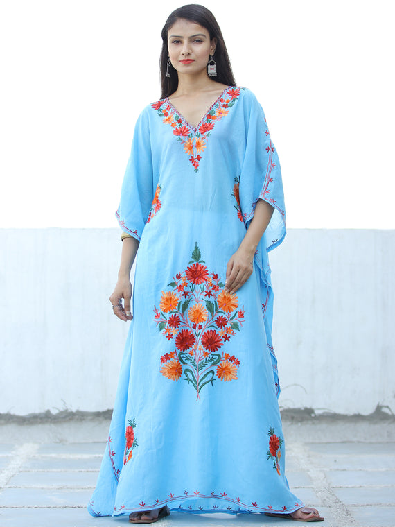 Sky Blue Red Aari Embroidered Kashmere Free Size Kaftan in Crushed Cotton - K11K057
