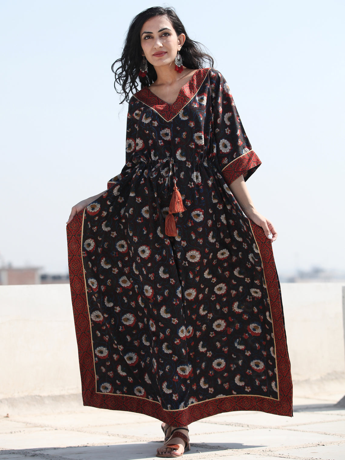Deep Brown Indigo Rust Hand Block Printed  Kaftan - K123F1400