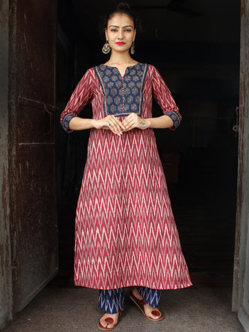 Onion Pink Indigo Ivory  Hand Woven Ikat Cotton Suit With Ajrakh Patch Work  - Set of 2  - SS01F038