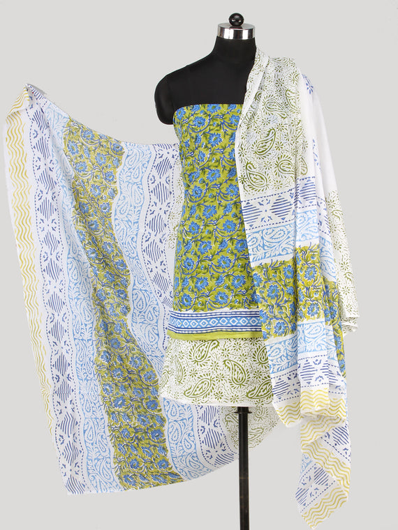 Green Blue White Hand Block Printed Cotton Suit-Salwar Fabric With Cotton Dupatta (Set of 3) - SU01HB428