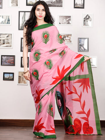 Pastel Pink Green Red Block Printed & Hand Painted Cotton Mul Saree - S031702911