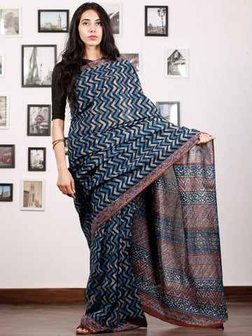 Indigo Ivory Rust Hand Block Printed Cotton Saree In Natural Colors - S031702912