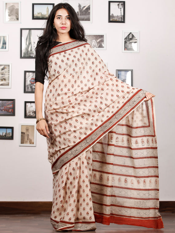 Beige Rust Black Hand Block Printed in Natural Colors Cotton Mul Saree - S031702916