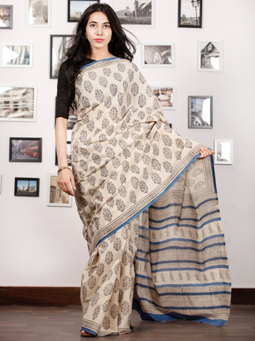 Beige Black Blue Hand Block Printed in Natural Colors Cotton Mul Saree - S031702917
