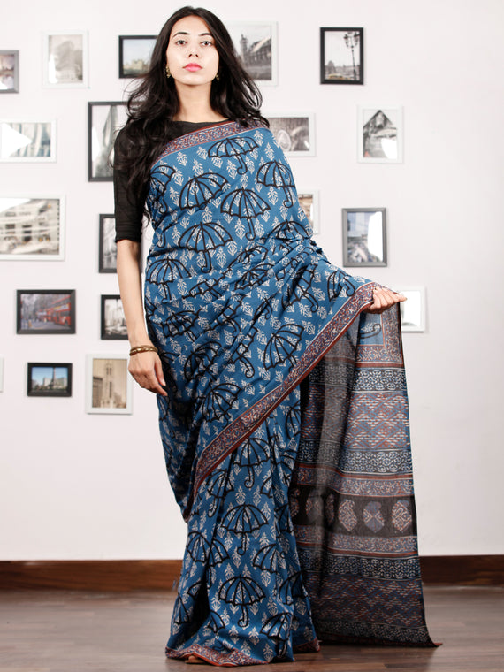 Indigo White Black Rust Hand Block Printed Cotton Saree In Natural Colors - S031702918