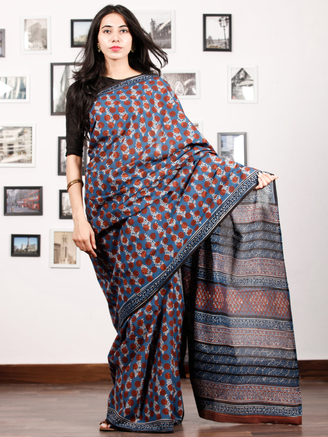 Indigo Rust Ivory Black Hand Block Printed Cotton Saree In Natural Colors - S031702920