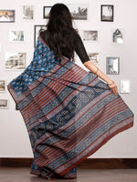 Indigo Rust Black White Hand Block Printed Cotton Saree In Natural Colors - S031702921