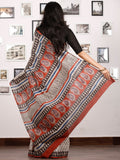 Beige Black Red Hand Block Printed in Natural Colors Cotton Mul Saree - S031702922