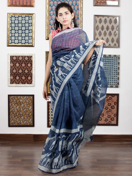 Indigo Ivory Hand Block Printed Kota Doria Saree in Natural Colors - S031703089