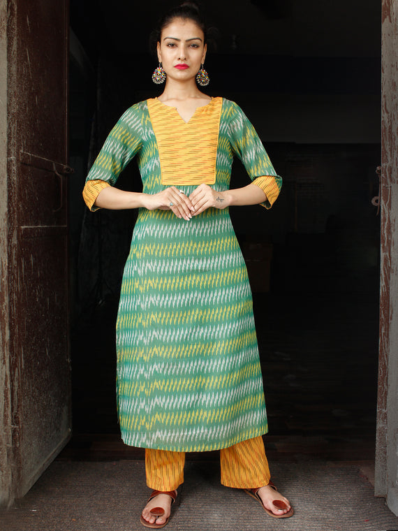 Green Yellow Silk Cotton Ikat Cotton Kurta & Pants - Set of 2  - SS01F1431