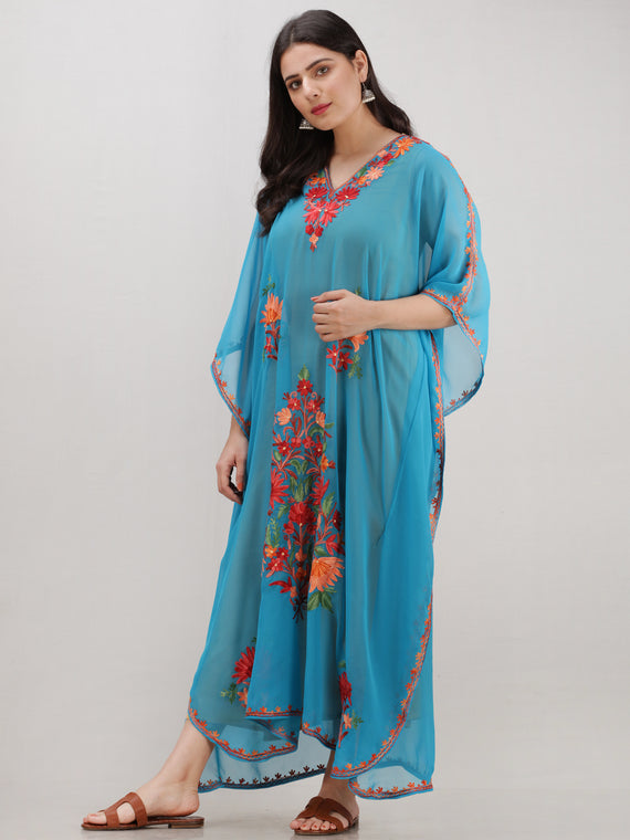 Sky Blue Multicolor Aari Embroidered Kashmere Free Size Georgette Kaftan  - K12K004