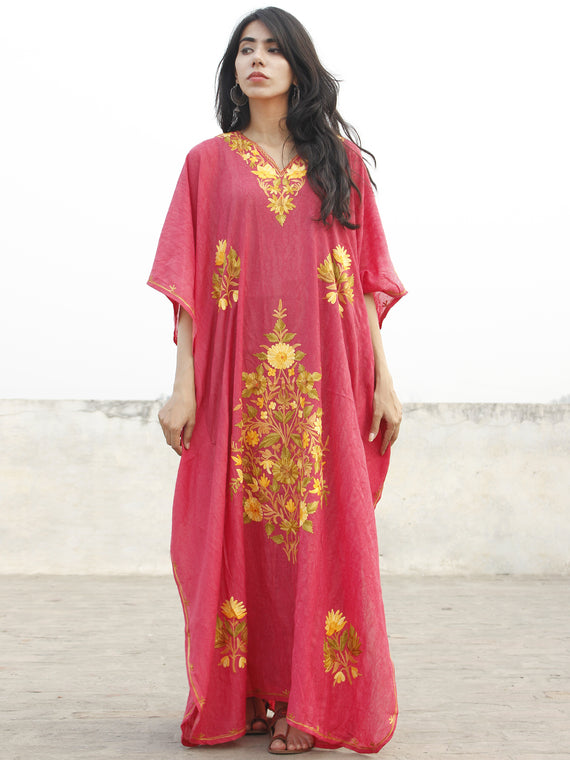 Punch Pink With Golden Yellow  Aari Embroidered Long Kashmere Free Size Kaftan in Crushed Cotton - K11K008