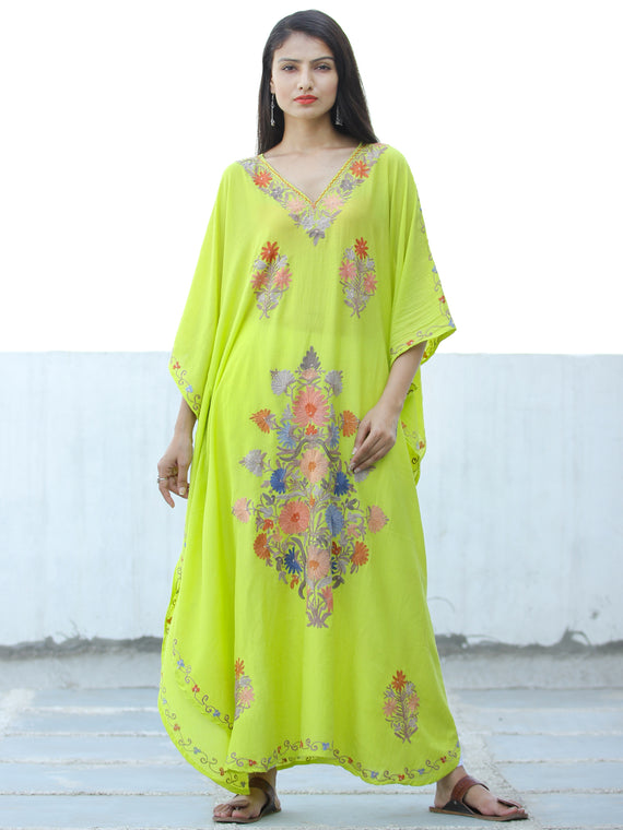 Lime Green  Aari Embroidered Kashmere Free Size Kaftan in Crushed Cotton - K11K059