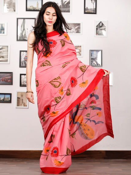 Peach Red Blue Green Block Printed & Hand Painted Cotton Mul Saree - S031702926