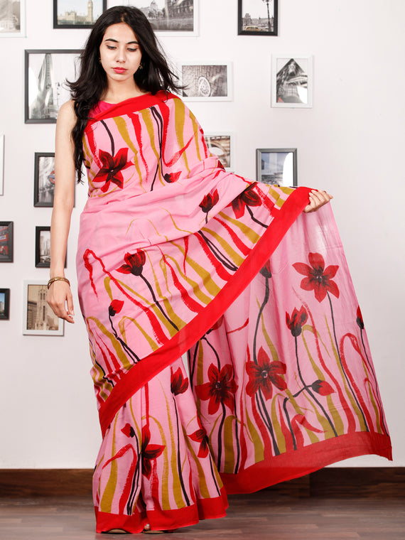 Pink Red Olive Green Block Printed & Hand Painted Cotton Mul Saree - S031702927